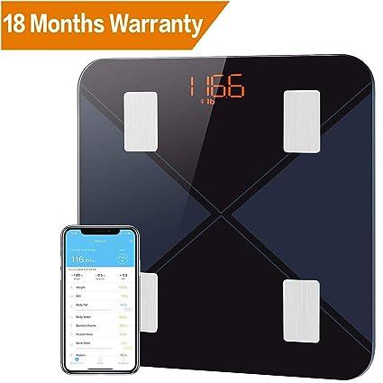 Mpow - Báscula digital de baño con Bluetooth para composición, báscula de baño digital inteligente