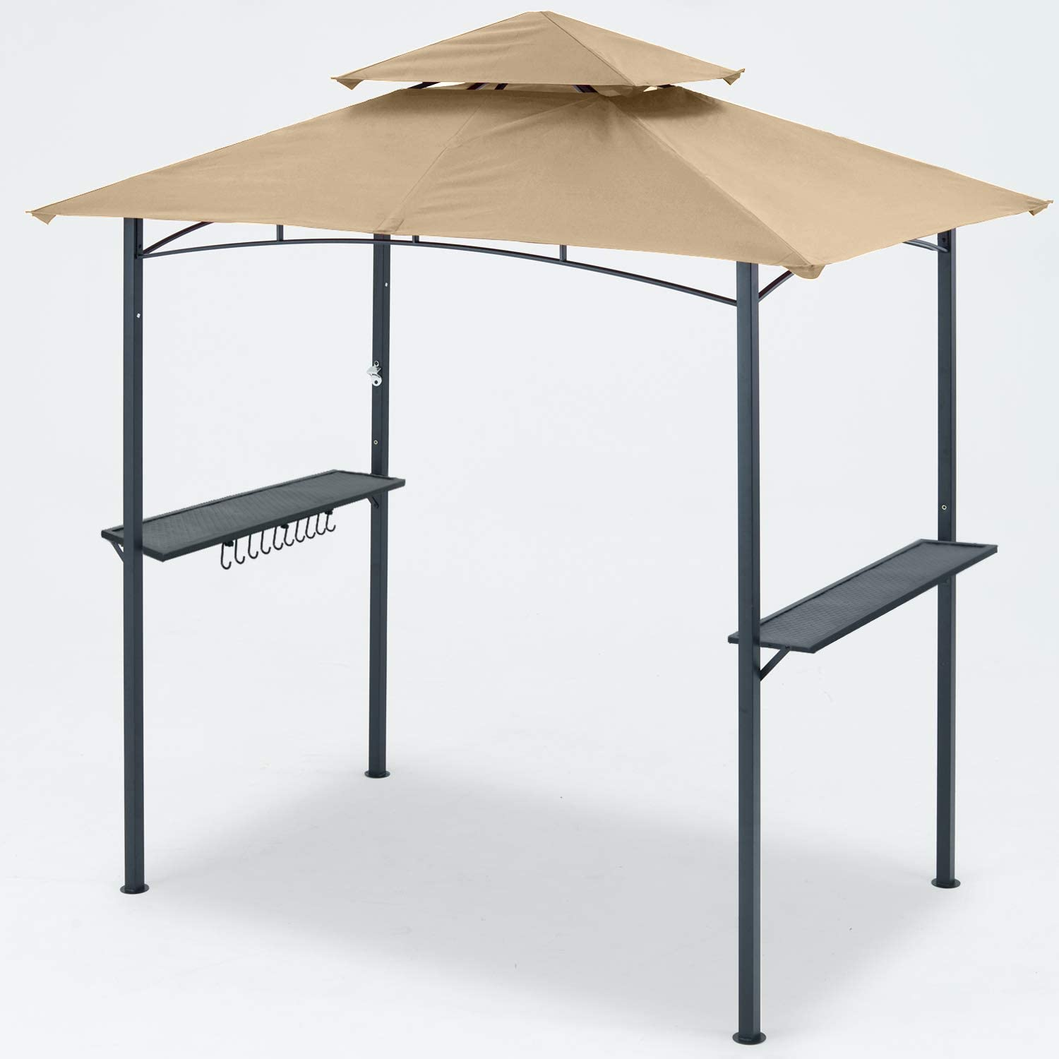 Brown MASTERCANOPY Grill Gazebo 8 x 5 Double Tiered Outdoor BBQ Gazebo Canopy with LED Light