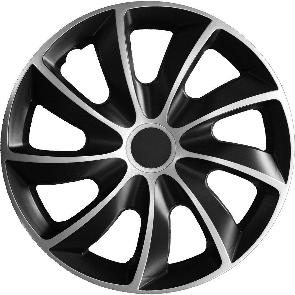 (Größe wählbar) 16 Zoll Radkappen / Radzierblenden Quad Bicolor (Schwarz-Silber) passend für fast alle Fahrzeugtypen – universal Autoteppich Stylers