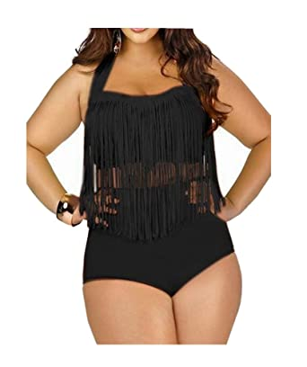 6161f80fd98 ZAIQUN Women Sexy Bikini Set Tassel Fringe Swimsuit Ladies High Waist Push  up Padded Plus Size Bathing Suit  Amazon.co.uk  Clothing