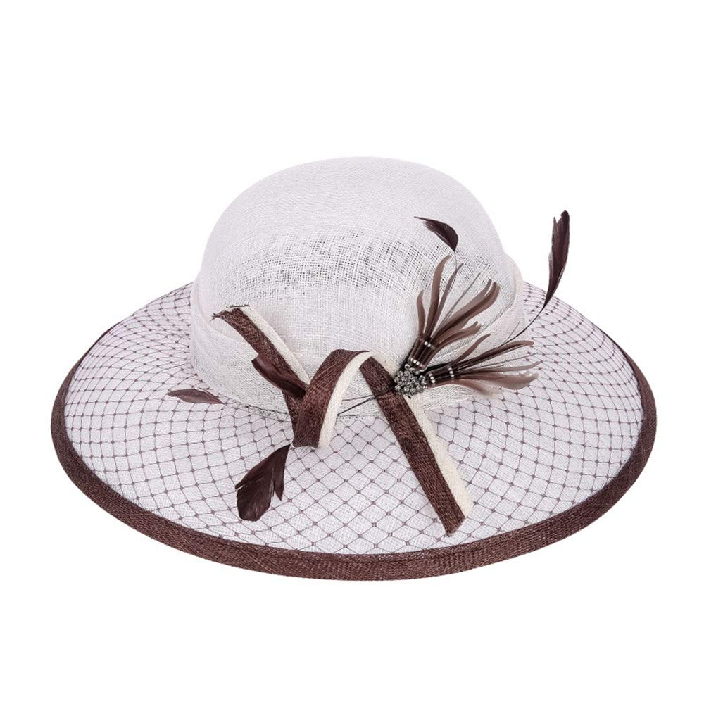 DERTHWER Lady Straw hat Ladies Hat Visor Beach Hat Cool Summer Hat Suitable for Banquet Simple Personality to Send Friends Gifts Sunshade Beach hat (Size : M)