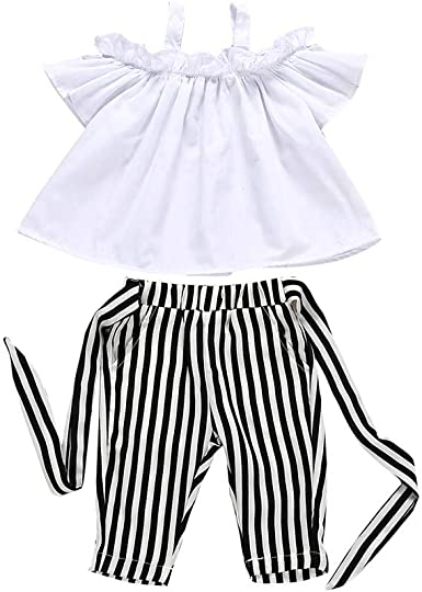 Toddler Baby Girls Shorts Set Off Shoulder Clothing Halter Ruffle Top Striped Button Short Summer Clothes Outfits