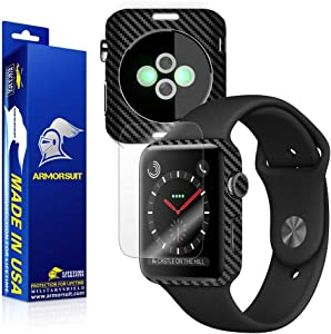 ArmorSuit Black Carbon Fiber Skin Back Protector Film + Max Coverage HD Clear Screen Protector for Apple Watch 42mm (Series 3) - HD Clear