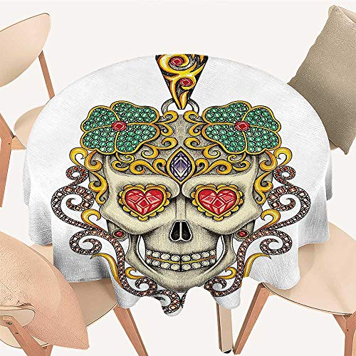 (Dragonhome Circular Table Cover The Dead Sugar Skull with Heart Pendants and Floral Jewelry Print White for Wedding Banquet, 55 INCH Round)