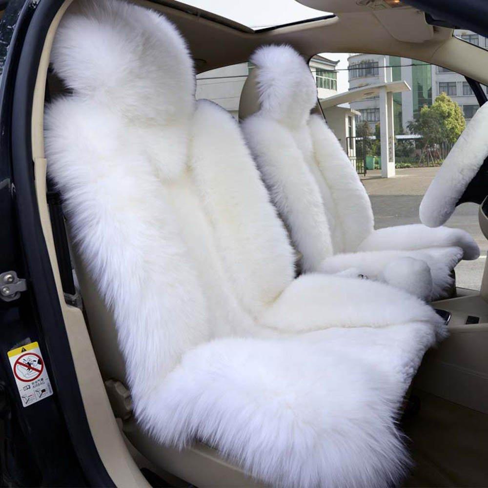 Amazon.com: 1 Set Genuine Sheepskin+Fibber Universal Car Front and ...