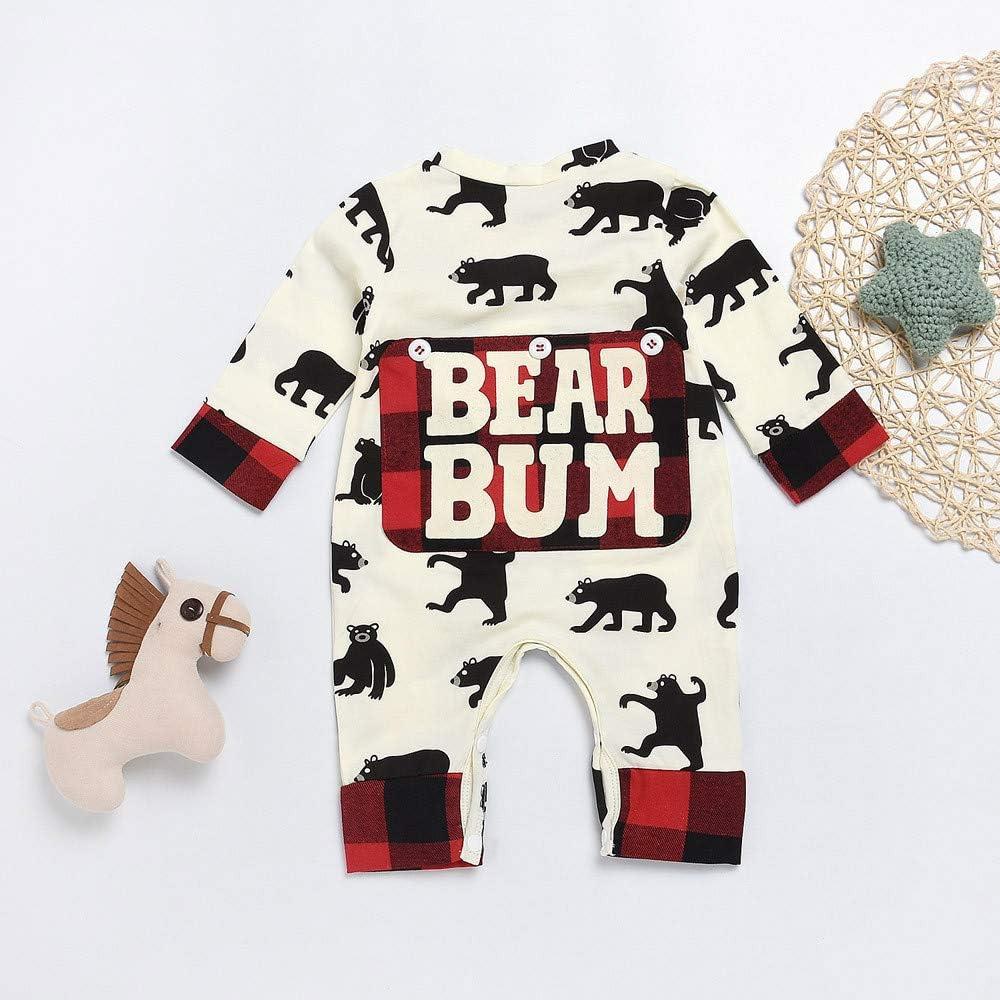 Oldeagle Newborn Baby Boys Girls Cartoon Bear Bum Letter Plaid Romper Jumpsuit Clothing Outfits