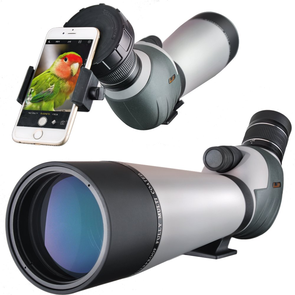 Landove Dual Focusing Zoom 20-60x80 Spotting Scope Macro and Micro Adjustable Focus Water Proof Spotter Scope with Fully Metal Tripod and Smartphone Mount by Landove