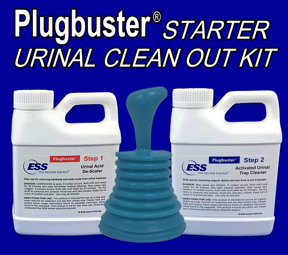 Plugbuster Commercial Grade Urinal Cleanout Kit (2 Part Urinal Cleaner with Urinal Plunger) Used for Unplugging, Unclogging, Cleaning and Maintaining Low Flow Urinal Traps and Drains by Plugbuster