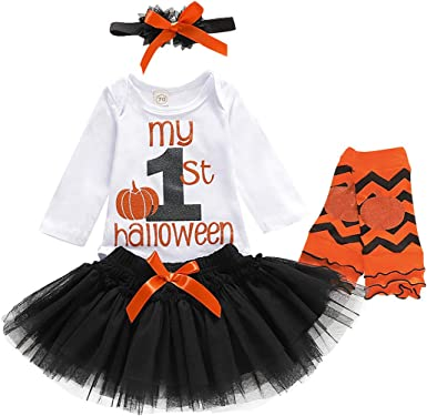 DIGOOD Toddler Baby Boys Girls Pumpkin Romper Stars Jumpsuit Witch Hat 0-24 Months,Kids Halloween 3Pcs Outfits Costumes Sets