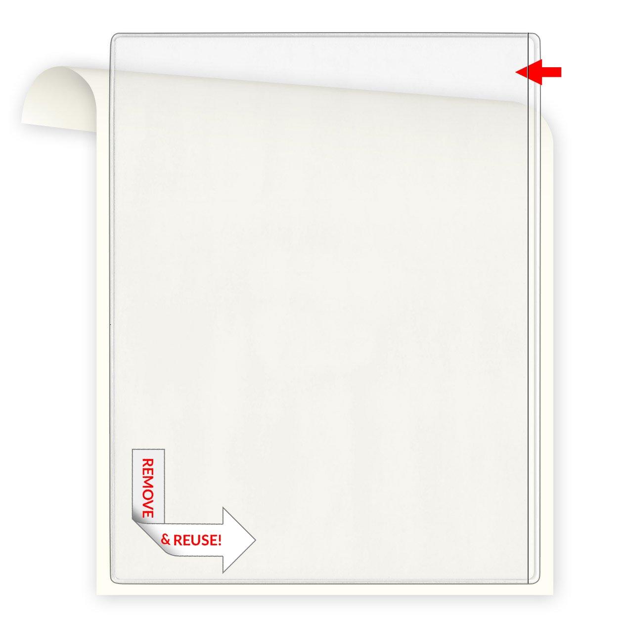StoreSMART Remove & Reuse Peel & Stick Plastic Pocket - 100 Peel & Stick Letter-Size Pockets - Open long side - Vinyl Plastic (PSR582L-100)