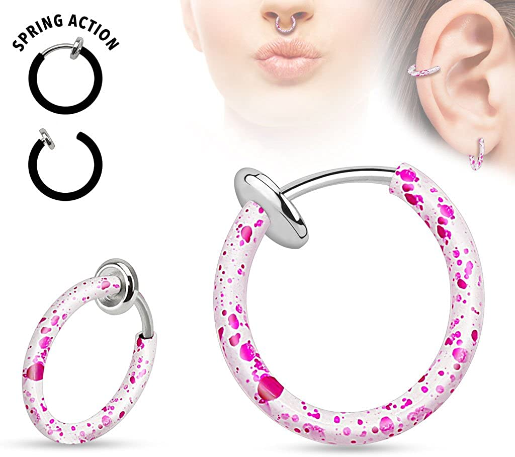 Ear and Nose Hoop Sold Ind. West Coast Jewelry Spring Action Splatter Over Surgical Steel Non-Piercing Septum