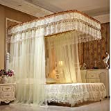Encrypted mosquito netting,U-guide netting curtains Encrypted mosquito net Double floor bedding Four corners enhanced tactical mosquito net For single to king size beds Anti mosquito bites-yellow