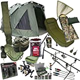 FULL CARP FISHING SET UP WITH 2 MAN BIVVY BEDCHAIR SLEEPING BAG TACKLE BOILIES by NGT