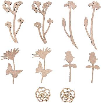 Amosfun 50 unids DIY Rodajas de Madera en Forma de Flores Manualidades de Madera para Pintar Infantil Adornos de Madera Artesan/ía