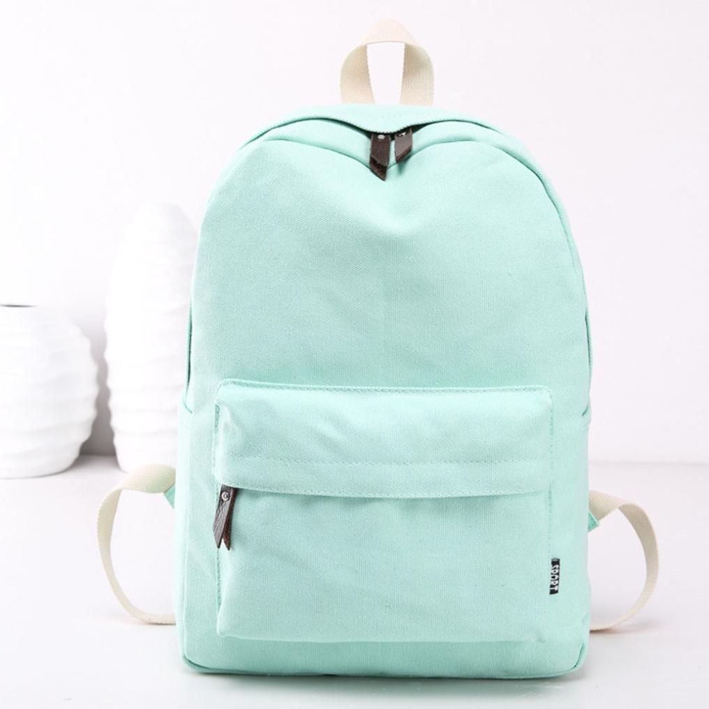 Mochila, Manadlian Bolso de mujer Mochila de viaje escolar Bolsos de hombro de lona para niñas (30cm(L)*40(H)*15cm(W), Verde menta): Amazon.es: Hogar