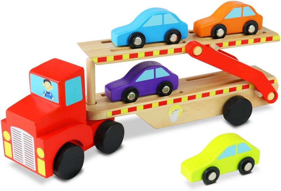 Camion Madera Transportador Portacoches Coches de Juguetes con Remolque y 4 Mini Coches Juguetes Madera para Niños 3 4 5 Años