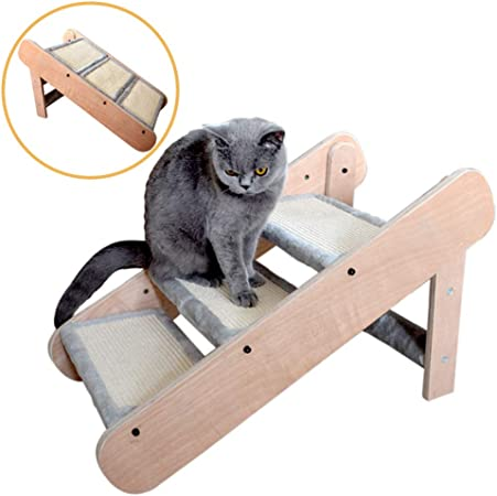 Escalera Perros Rampa de Peldaños de Escalera Plegable para Mascotas 2 en 1 para Perros/Gatos Grandes/Pequeños, Escaleras/Escaleras de Acceso para Mascotas de Madera de 3 Escalones, Fácil Almace: Amazon.es: Hogar