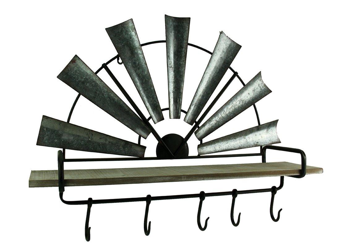 Distinctive Design Wood & Metal Decorative Wall Hooks Rustic Galvanized Half Windmill Wall Shelf with Hooks 31.5 X 23.25 X 6.75 Inches Gray