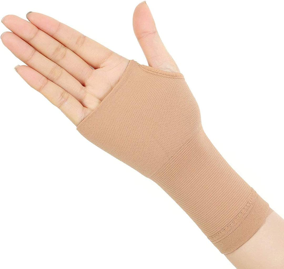 Ortesis de muñeca Soporte ortopédico, 1 par de artritis alargada Guantes de compresión Pulgar Mano Muñeca Soporte Guantes Tendonitis Alivio reumatoide Alivio del dolor (Size : Skin Color XL)