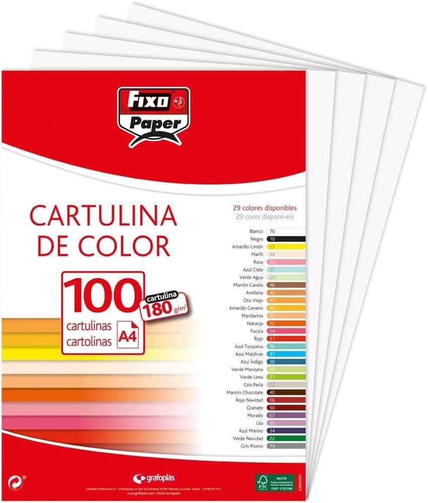 Fixo Paper 11110470 - Pack de 100 – Cartulina blanca A4, 180g ...