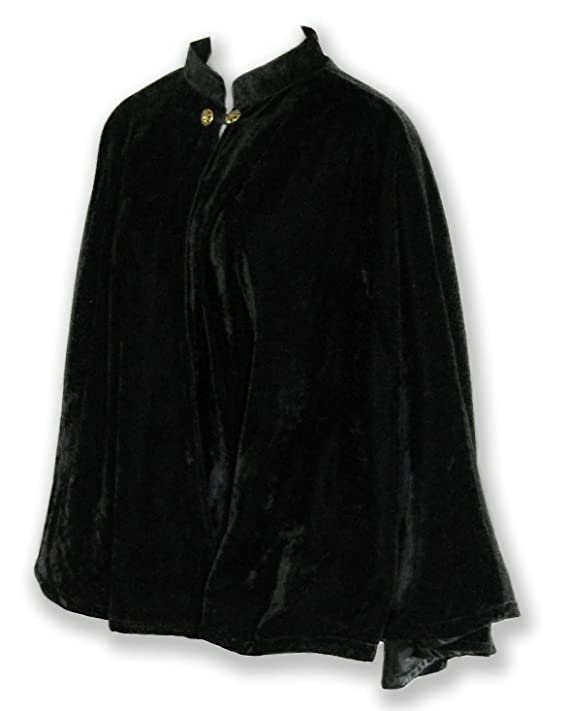 1930s Style Coats, Jackets | Art Deco Outerwear Velvet Circular Cut Half Cloak Capelet Lined in Satin with Two-Button Clasp $49.99 AT vintagedancer.com