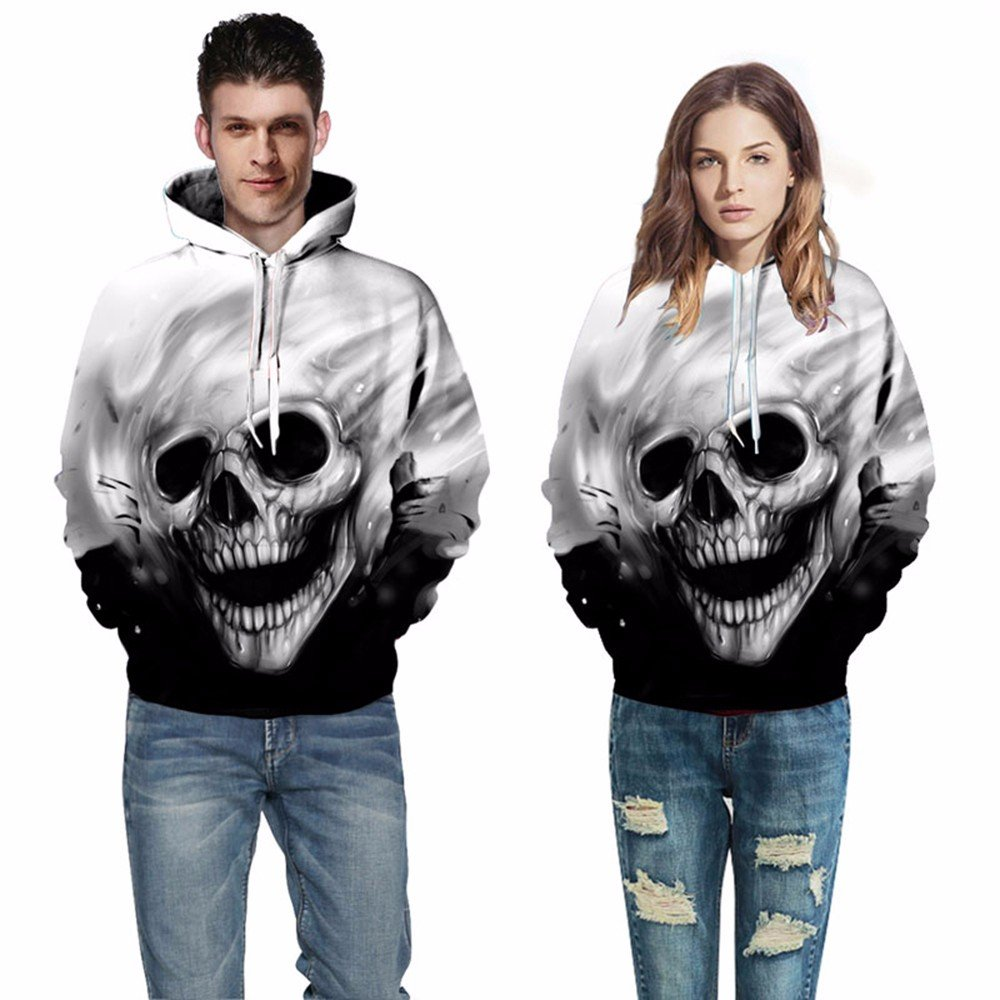 Amazon.com : CCHD Fashion Skulls Sweatshirts Men Women Thin Fashion 3D Hoodies Print Skulls T-Shirt Hooded HoodiesAutumn Spring with Hat : Sports & Outdoors