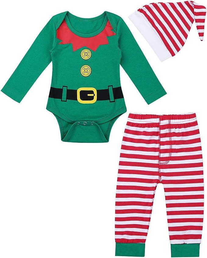 iiniim 3 pcs Pelele + Pantalones + Gorro Disfraces Duende Navidad ...
