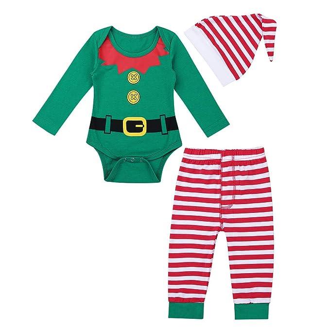 iiniim 3 pcs Pelele + Pantalones + Gorro Disfraces Duende Navidad Bebé Niño Niña Mameluco Algodón Traje Infantil Disfraz Conjunto Manga Larga Romper (3-12 ...
