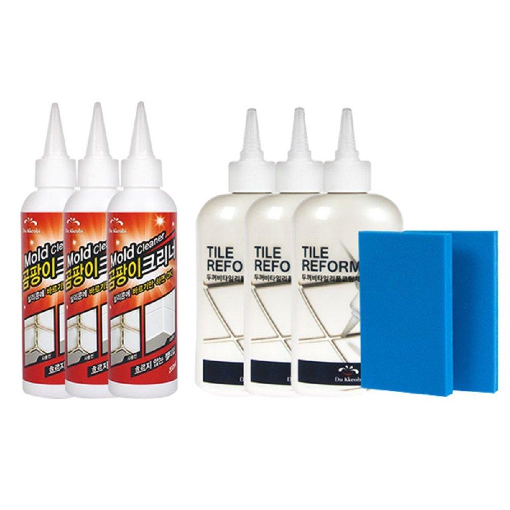 DuKkeobi Tile Reform Coating & Mold Cleaner SET - Tile Grout Reform3 & Mold removal Cleaner3 &Spatula Scraper Sponge2