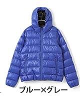 【ブルー×グレー/Mサイズ 1点】philter コアブリッド配合 ヒートファイバーダウンジャケット
