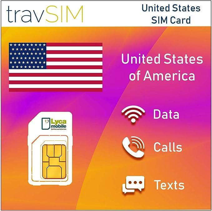 travSIM - Tarjeta SIM Prepagada Lycamobile para EE.UU. (Incluyendo Hawaii & Puerto Rico): Amazon.es: Electrónica