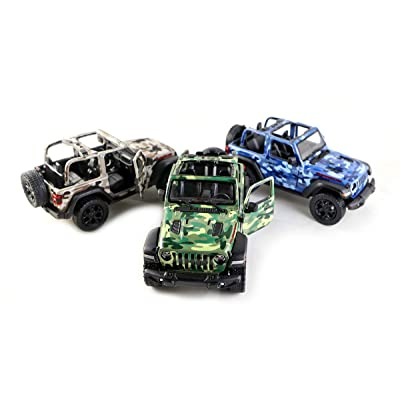 HCK Set of 3 Jeep Wrangler Rubicon 4x4 No Top Convertible Off Road Exploration Diecast Model Toy Cars in Camo Colors: Toys & Games