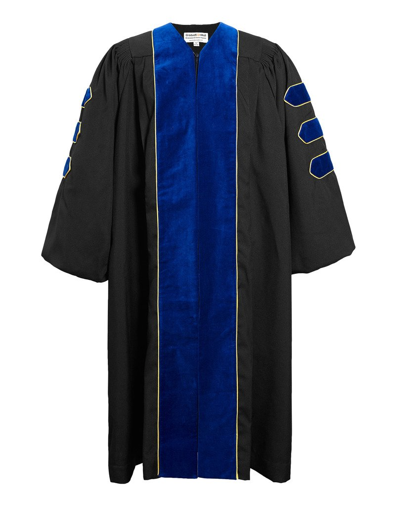 GraduationMall Deluxe Doctoral Graduation Gown for Faculty and Professor Phd Blue Velvet with Gold Piping 57(6'0''-6'2'')