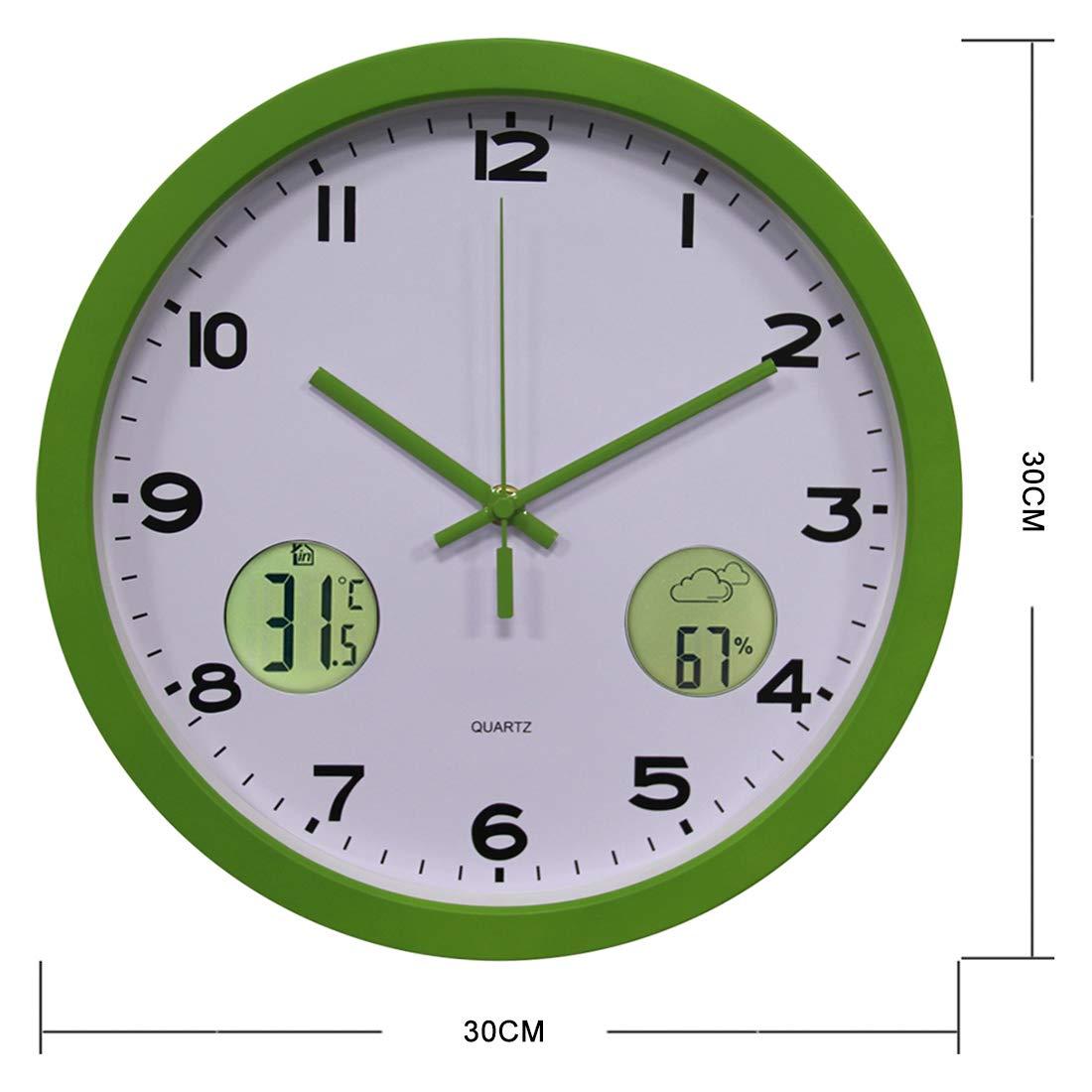 30CM Pendule Murale avec Thermom/ètre et pr/évisions m/ét/éo Silencieuse Moderne Metal Ronde pour Cuisine Salon Searchyou Bureau - Horloge Murale Radio Pilot/ée Chambre Argent/é