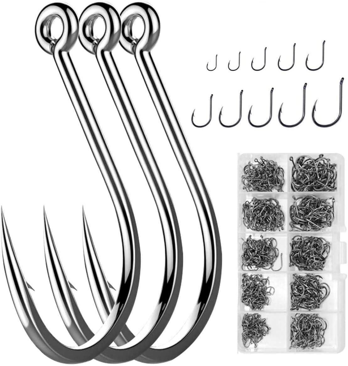 9# silber Ton  Angelausrüstung aus Metall Öse Widerhaken Angelhaken 64 Stück