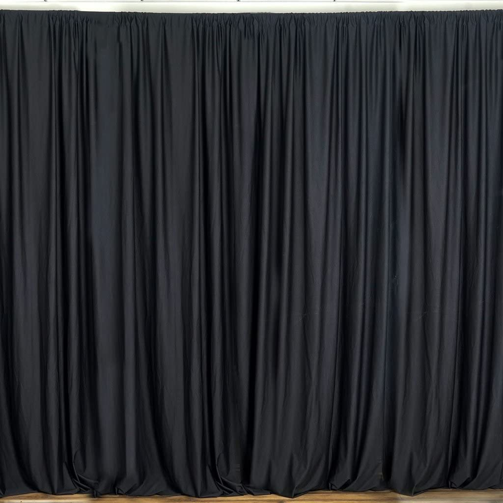 """lovemyfabric 100% Polyester Window Curtain/Stage Backdrop Curtain/Photography Backdrop 58"""" Inch X 108"""" Inch (2, Black)"""