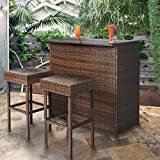 Beautiful Set of Outdoor Backyard Table & 2 Stools Rattan Garden Furniture, Brown