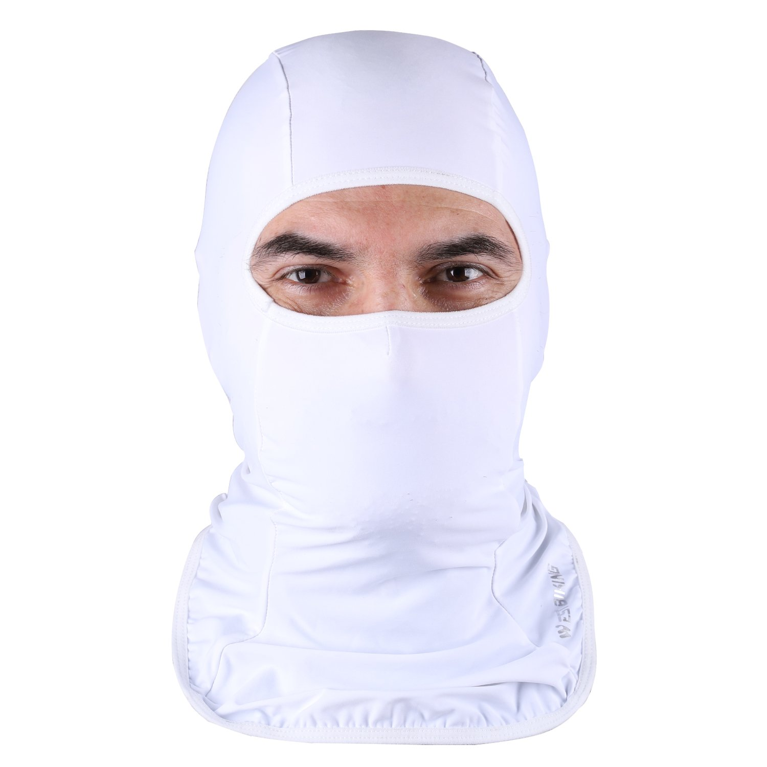 ICOCOPRO Lycra Fabrics Balaclava - Protects from Wind, Sun, Dust Spring Summer Face Mask Helmet Liner Breathable, Sweat-Absorbent,Quick Dring Quick Dring-White 3AWJ-YP0201176-1-White