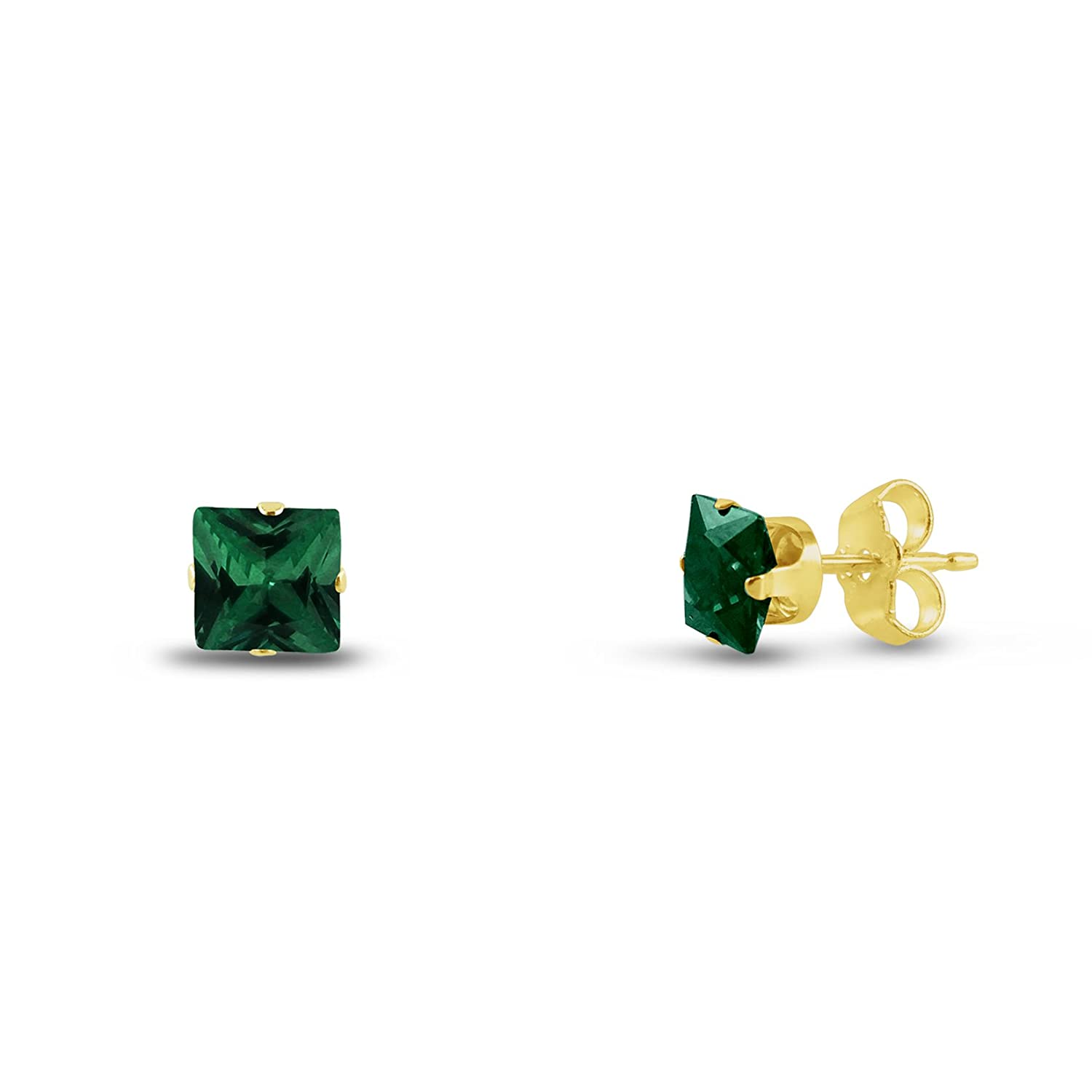 Square 2x2mm Simulated Emerald Green Gold Plated Sterling Silver Stud Earrings