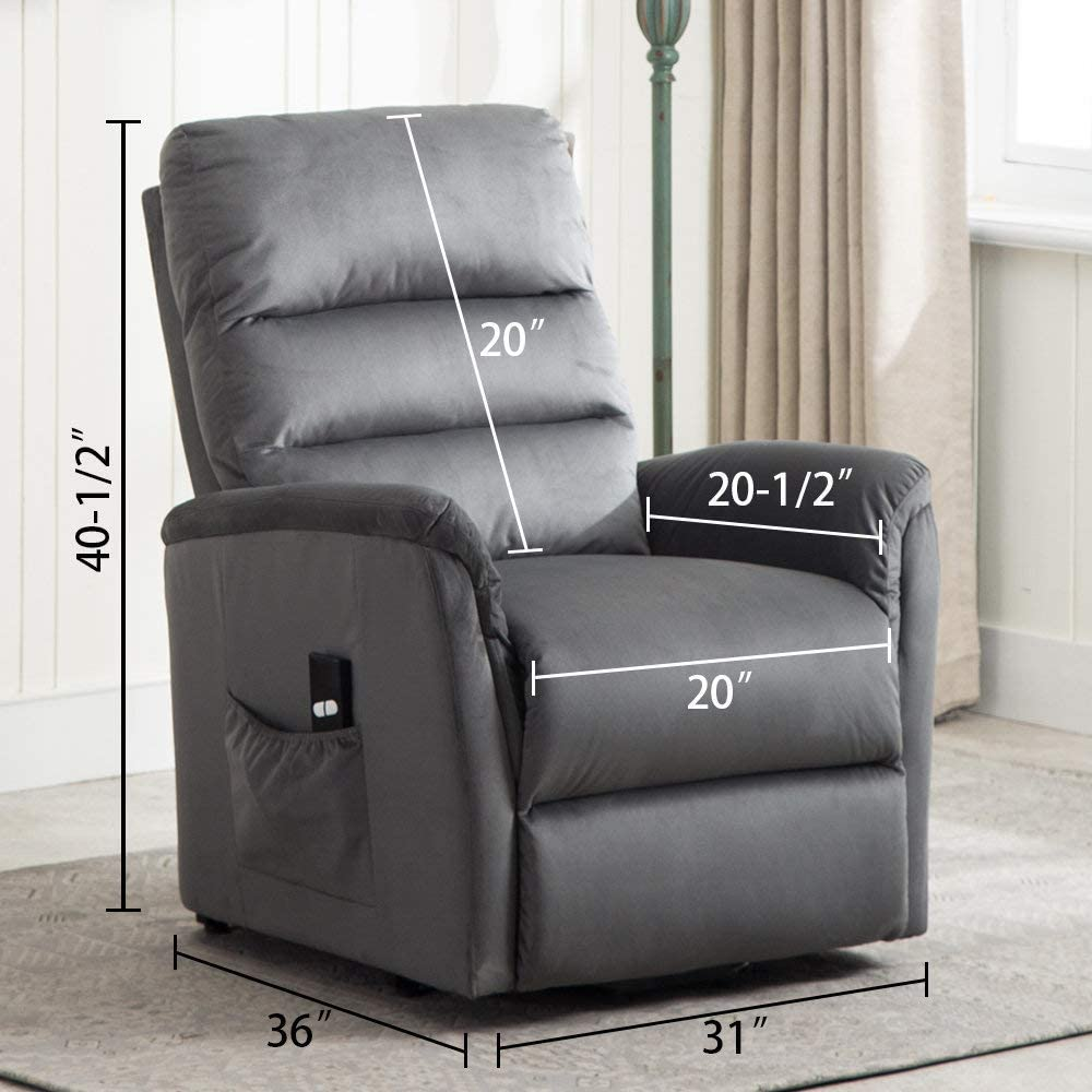 Bonzy Home Power Lift Recliner Chair for Elderly, 3 Position & Side Pocket, Soft Fabric Single Sofa with Remote Recliner Chair for Home Theater Seating (Gray)