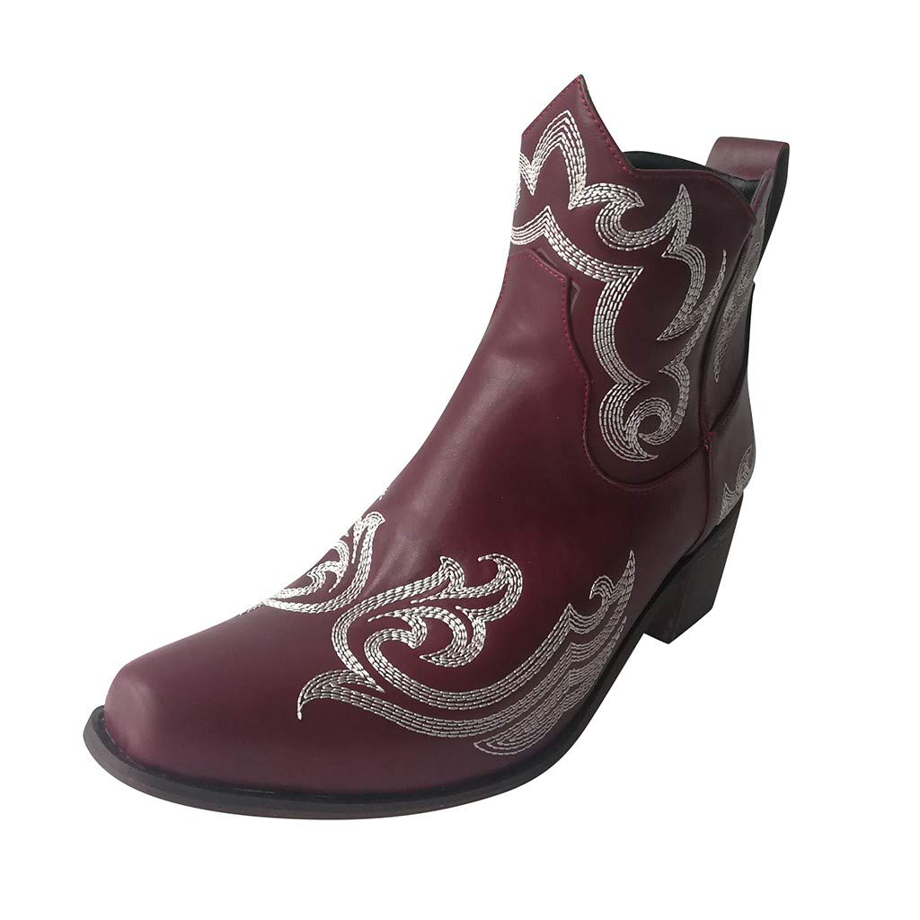 LATINDAY Retro Bohemian Women Boots Printed Ankle Vintage Ladies Shoes Woman 2019 New Embroider High Heels Boots Wine by LATINDAY ➜ Shoes Accessory