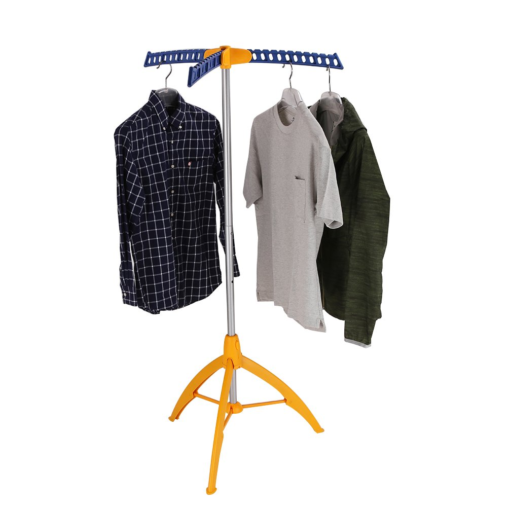 mingol Collapsible Clothes Drying Rack, Portable Garment Racks Indoor, Foldable Standing Laundry Racks for Drying Clothes, Tripod Stand, Hangaway Garment Rack, Orange and Blue