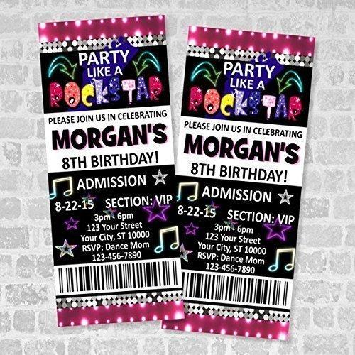 Rockstar Birthday Party Ticket Invitation, Party Like A Rockstar Custom Rock Star Glow Party Ticket Invites, Matte Finish ()