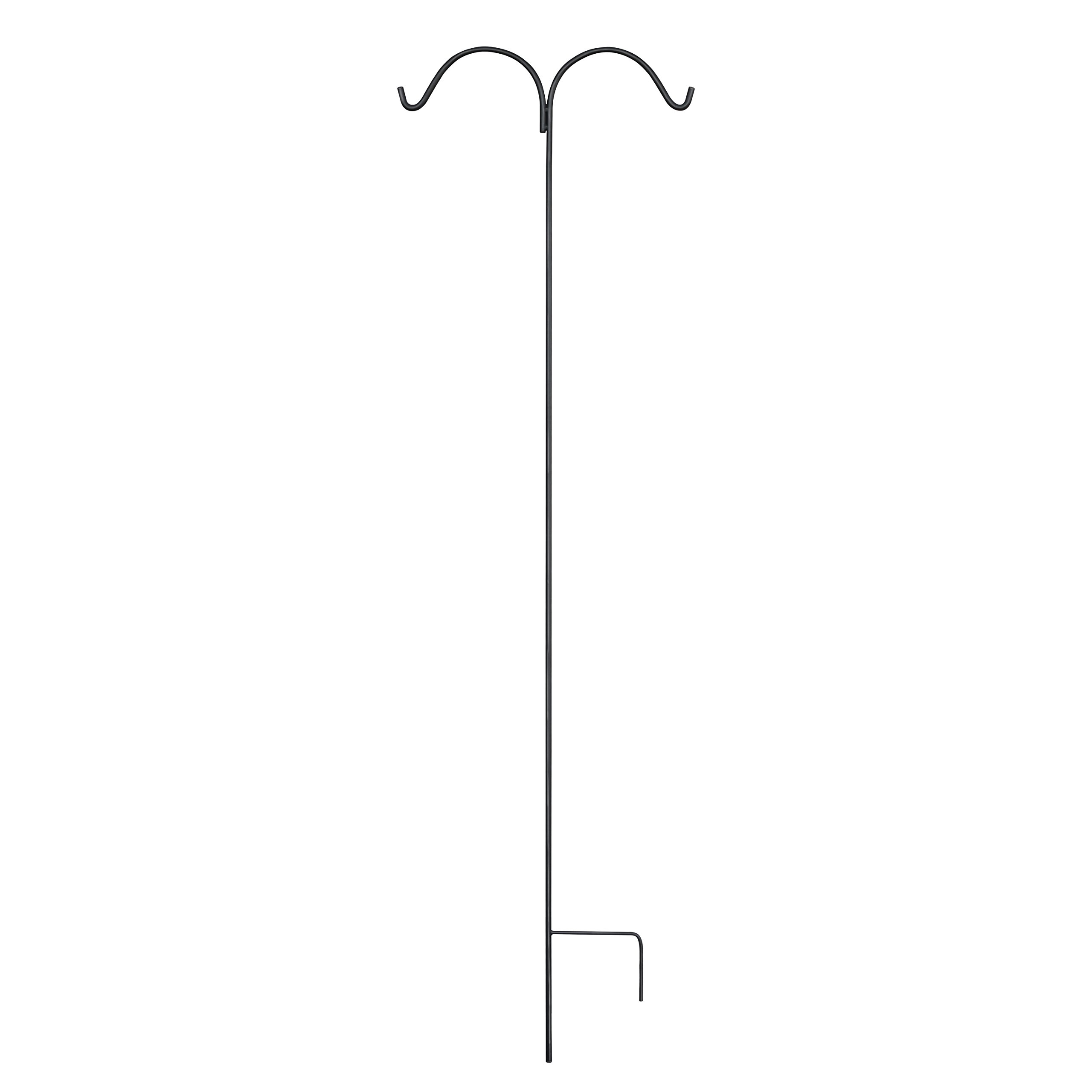 GrayBunny GB-6845D Double Shepherd Hook, 92 Inch, 3/5 Inch Thick Single Piece Heavy Duty Steel Hooks For Hanging Solar Lights, Bird Feeders, Mason Jars Plant Hangers Flower Baskets Lanterns & Planters