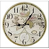 Ikea persby world map wall clock amazon kitchen home world map 34cm diameter wall clock gumiabroncs Images