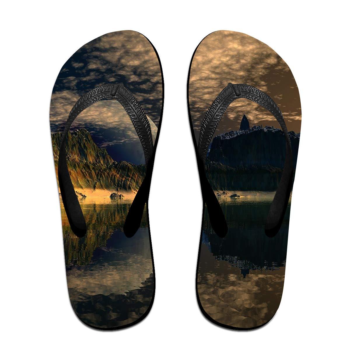 Couple Slipper Sunrise Mountain Print Flip Flops Unisex Chic Sandals Rubber Non-Slip Spa Thong Slippers