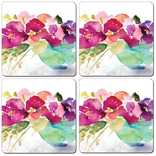 - Cala Home Set of 4 Hardboard Coasters, Bowl of Blooms