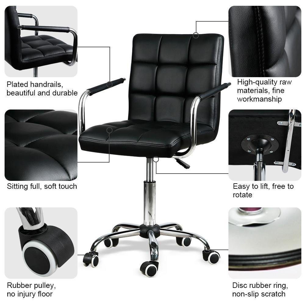 Home Office Study Room Furniture Black Yaheetech 2pcs Faux Leather Office Chair Swivel Computer Desk Chair Adjustable