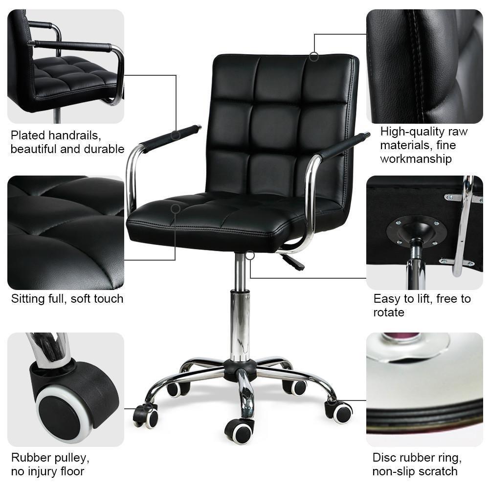 Yaheetech Modern PU Leather Midback Adjustable Executive Office Chair Swivel Stool Chair on Wheels, Black
