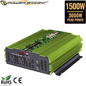 Power Bright 1500 Watt 24V Power Inverter, Dual 110V AC Outlets, Modified Sine Wave, Automotive Back Up Power Supply Perfect for an Emergency, Hurricane, Storm or Outage - CE Approved
